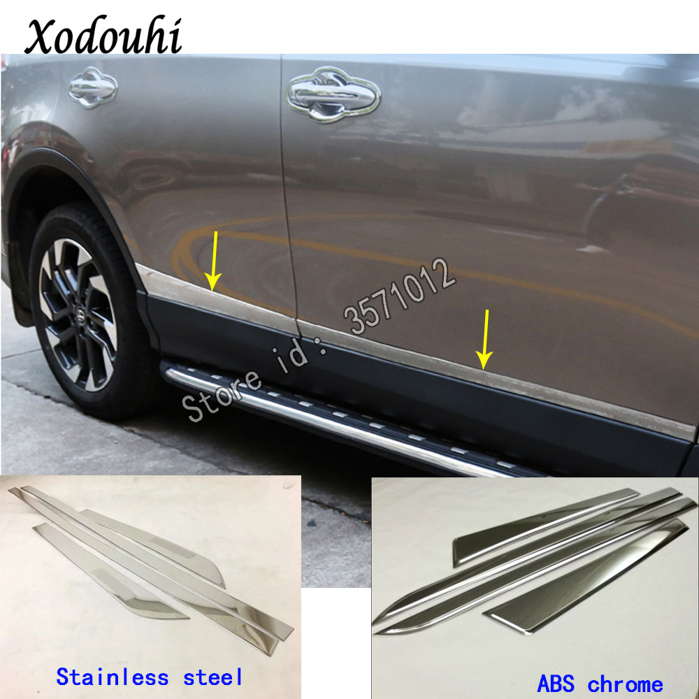 Stainless steel Door Body Side Molding Cover Trim For Toyota RAV4 2016 2017 2018