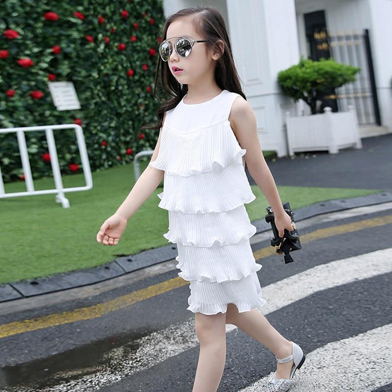 New summer girls virgin Korean fashion princess sleeveless dress 2017 Mermaid Children's fantasy for girl 5 6 8 10 12 years old new fashion suspender with sleeveless shirt suit for girl