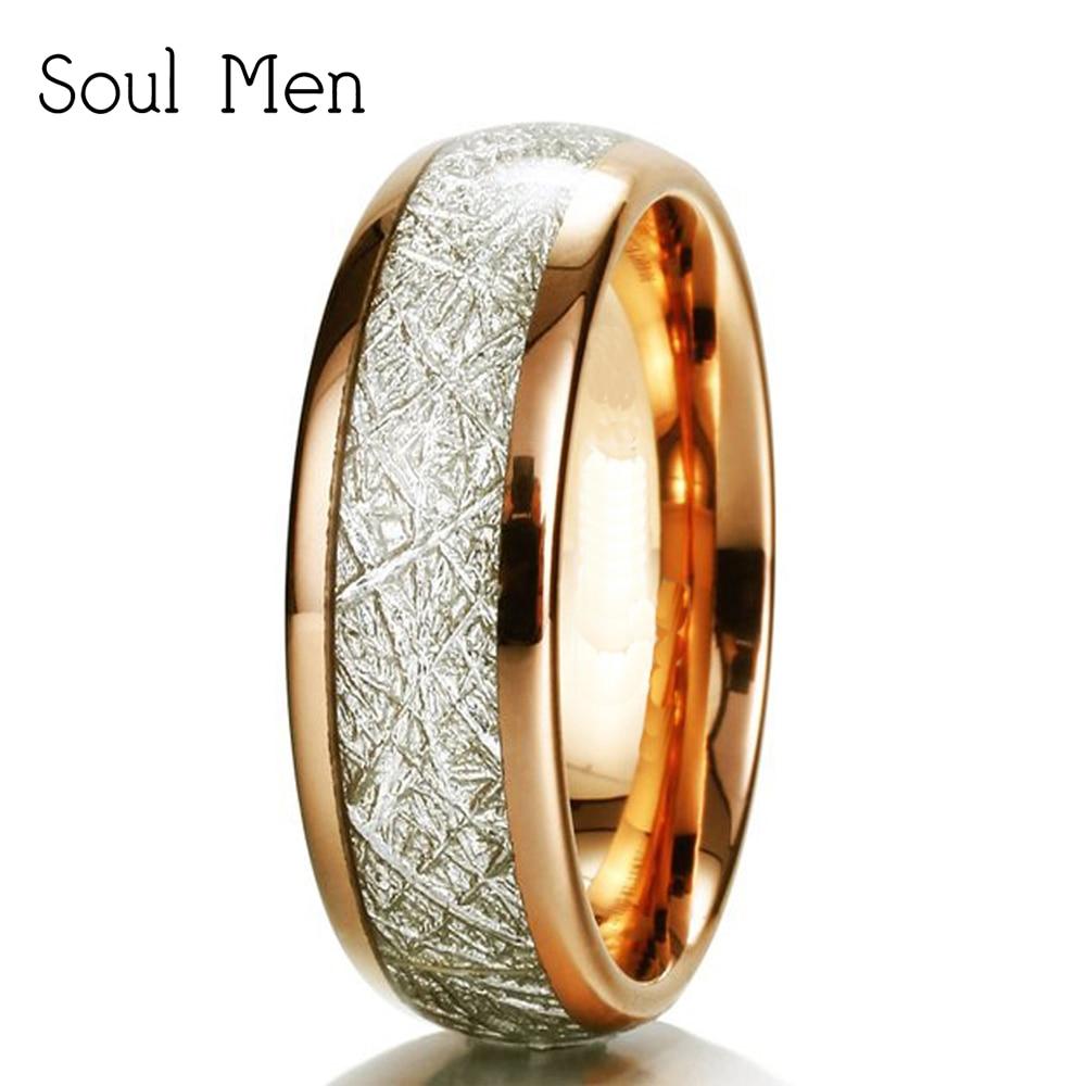 Soul Men 6mm Wide Rose Gold Meteorite Rings Boy & Girl Tungsten Carbide Wedding Band Natural Design Spain anillos alliance