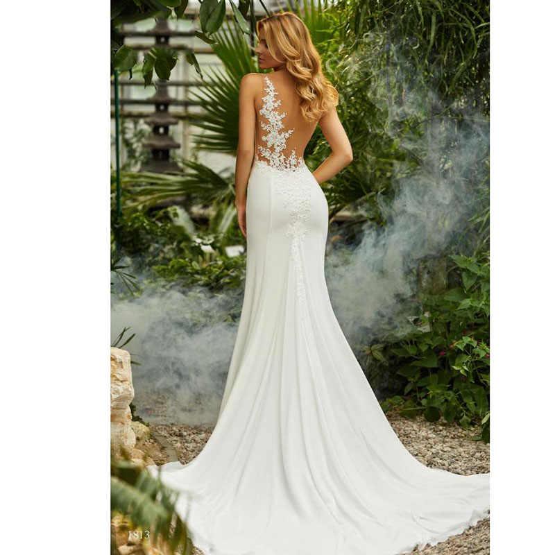 לורי בת ים חתונת שמלת וינטג O-צוואר אפליקציות חוף הכלה שמלת שיפון נסיכת Boho חתונת שמלת משלוח חינם 2019