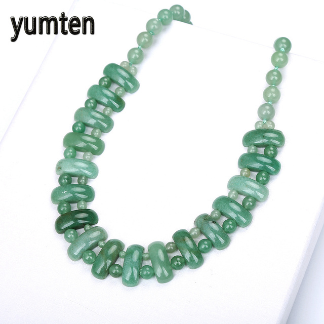 Yumten awenturyn Jade kobiety duży naszyjnik czeski styl koraliki moda wykwintne biżuteria kryształ walentynki prezenty Joyas lisa