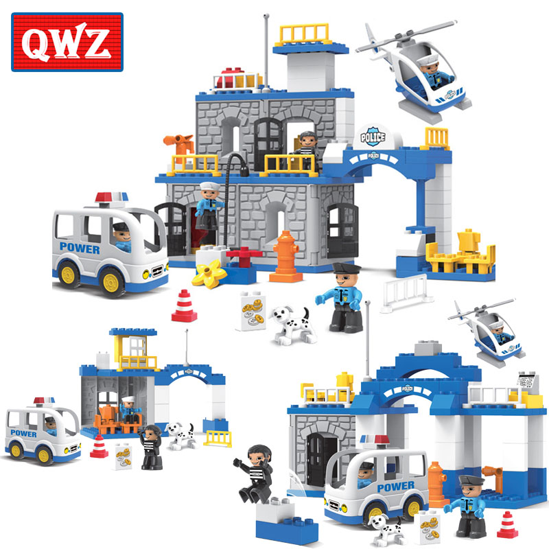 QWZ 36-90pcs Large Particle City Police Station Police Office Building Blocks City Policeman Figures Brick Toy Compatible Duplo qwz 60 90pcs city fire station fire engine duplo large size building blocks fireman figures compatible with duplo for kids toys