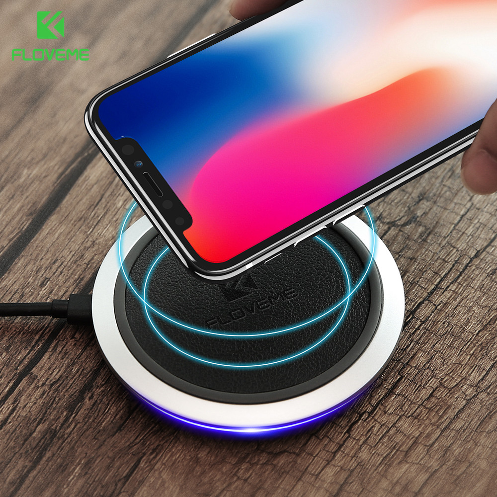 [Qi Wireless Charger 10W] , FLOVEME Wireless Charger LED Charging Pad For Samsung Galaxy S8 S7 S8 Plus Note 8 For iPhone X 10 8