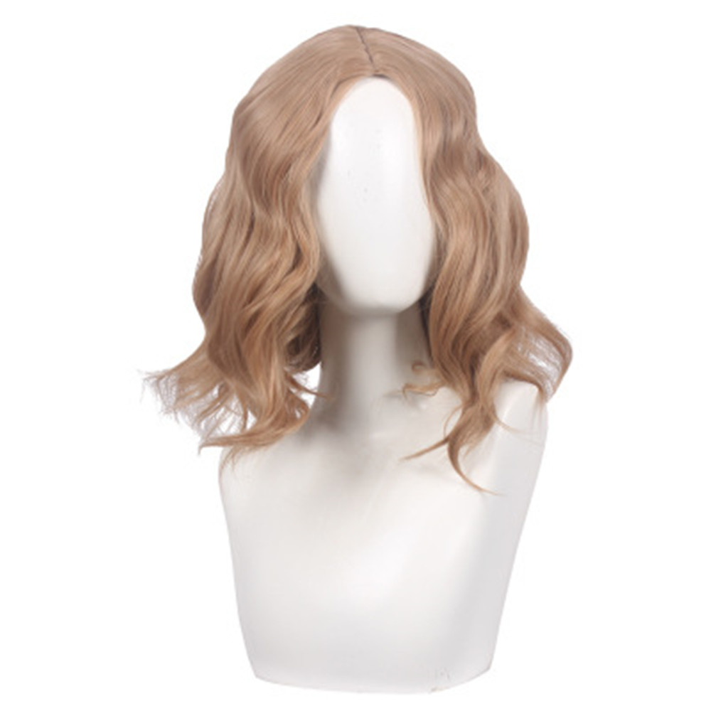 Women Captain Marvel Coplay wig Women Blonde wavy hair gold wig costumes with free hair cap in Game Costumes from Novelty Special Use