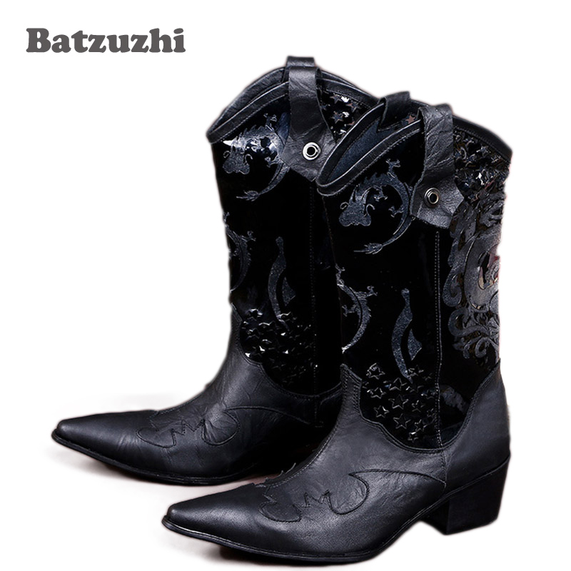 Batzuzhi Italian style cowhide Men's leather boots Fashion Black mens business dress fashion men personalized boot. Big size 46