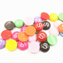 50Pcs Mixed Cameo Cabochon Decoration Round S Word Candy Shape Acrylic Fashion Jewelry DIY Findings 14mm