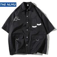 Cargo Shirts Men Streetwear Multi pocket Tactical Function Shirts 2019 Male Summer Harajuku Shirt HW300