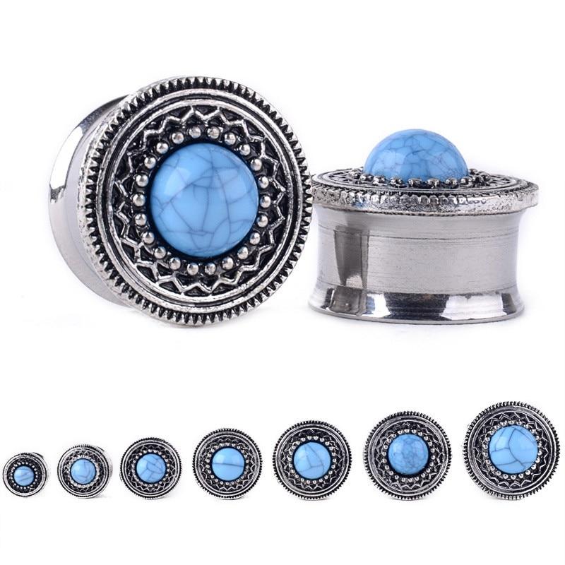 1 Paia 8-20mm Acciaio Ear Plugs Tunnel Blue Opal Pietra Tappi Per Le Orecchie Orecchino Calibri Orecchio Espansori Penetranti Anelli Del Corpo Di Modo Gioielli Colori Armoniosi