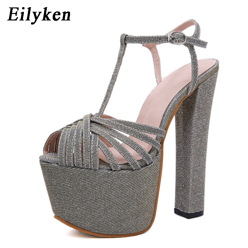 Eilyken Fashion Golden Sequined Women Sandals Pumps shoes Peep Toe Buckle Strap shoes Sexy High heels Gladiator Sandals Women Eilyken Fashion Golden Sequined Women Sandals Pumps shoes Peep Toe Buckle Strap shoes Sexy High heels Gladiator Sandals Women