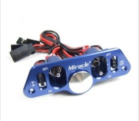Interrupteur d'alimentation double en aluminium Miracle CNC d'origine avec prise/câbles Dot/Futaba JR pour avion/bateau à essence RC-bleu