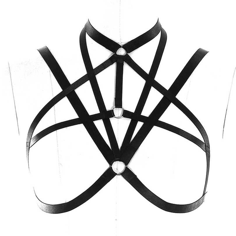 Gotik Seksi Kırpma Üst Kadınlar Vücut Demeti Sutyen Hollow Out Elastik Kafes Bralette Bandaj Strappy Iç Çamaşırı Meme Kemer Üstleri Rave giyim