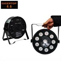 TIPTOP Stage Light 9+1 Digit 1x30w 9x3w LED Flat PAR Lighting Fixture RGB 3 Color Silent Cooling Fan Dual Yoke Bracket CE ROHS