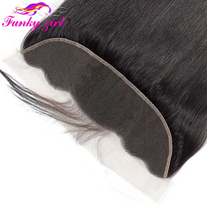 Funky Girl 13x4 Ear To Ear Full Lace Frontal Closure Bleached Knots With Baby Hair Brazilian Straight Frontal Remy Human Hair