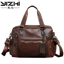 YIZHI new 2018 Business Men's Briefcase Is a High-quality PU Leather Large Capacity With a Shoulder Bag Laptop Bag