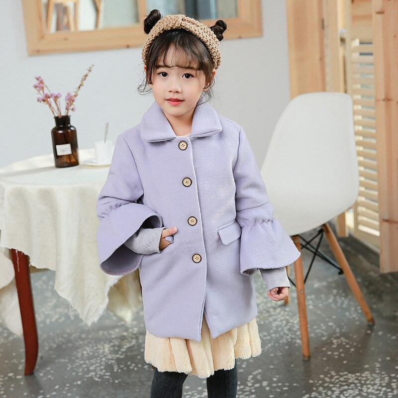 2018 girls winter coats kids clothes children clothing girls wool coats blends cashmere flare sleeve coat girls clothes