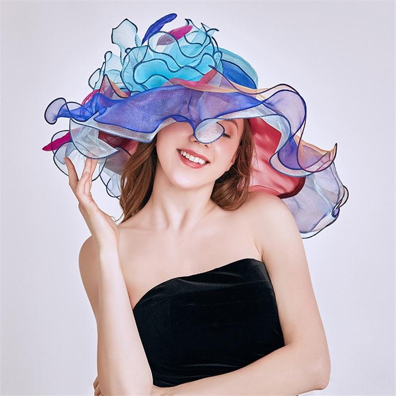 Mingli Tengda Elegant Woman Crystal Flower Wedding Hat Organza Bridal Hats Summer Visor Beach Hat pamelas y sombreros para boda