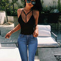 T Shirt Women 2016 Fashion Summer Sleeveless Deep V Neck Bandage Shirts Casual Hoodie Sexy Women T Shirt Camisetas Feminina