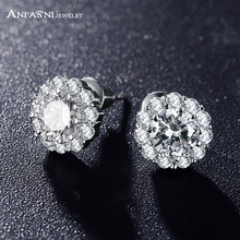 ANFASNI Korean Fahion Jewelry Silver Color Cute Flower Stud Earrings CZ Bridal Wedding Earrings CER0033-B