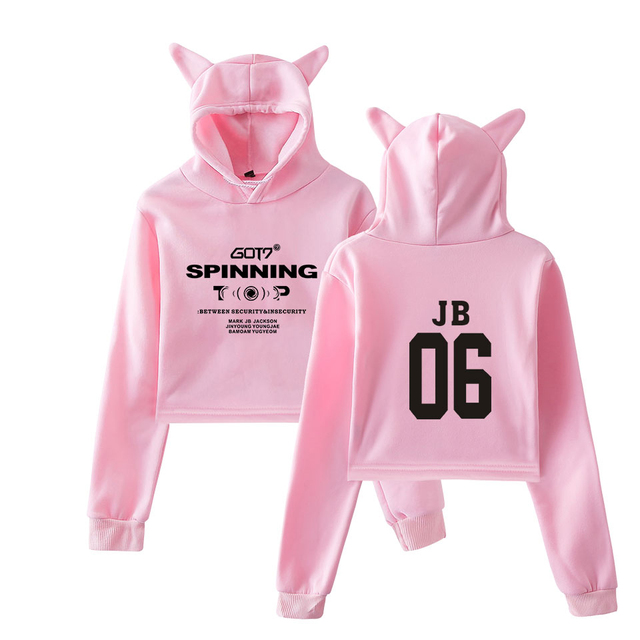 GOT7 CROP TOP EAR HOODIE (25 VARIAN)