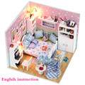 DIY Wooden Handmade Dollhouse Miniature DIY Doll house Kit - Cute Bedroom & Furniture inside With Light Dust cover