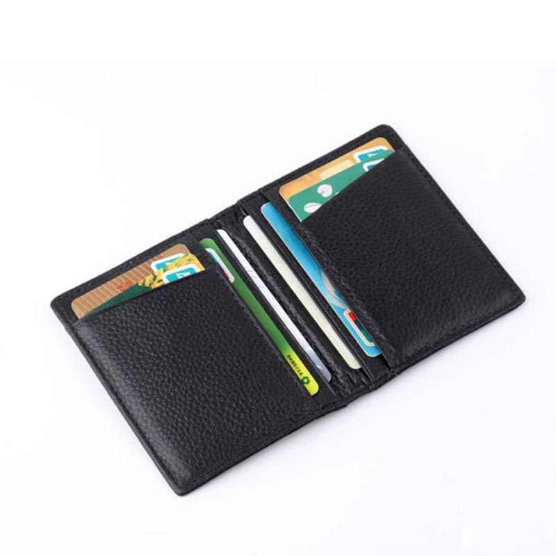 Fashion Pria Pendek Dompet Tahan Lama Kulit Sapi Identitas Pemegang Kartu Kredit Uang Tas Mini Dompet 10.5*8 Cm