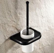 Черный Масло Втирают Бронзовый Настенные Ванная Комната Керамическая Чашка и Латунь Держатель Для Туалетной Щетки Wba196