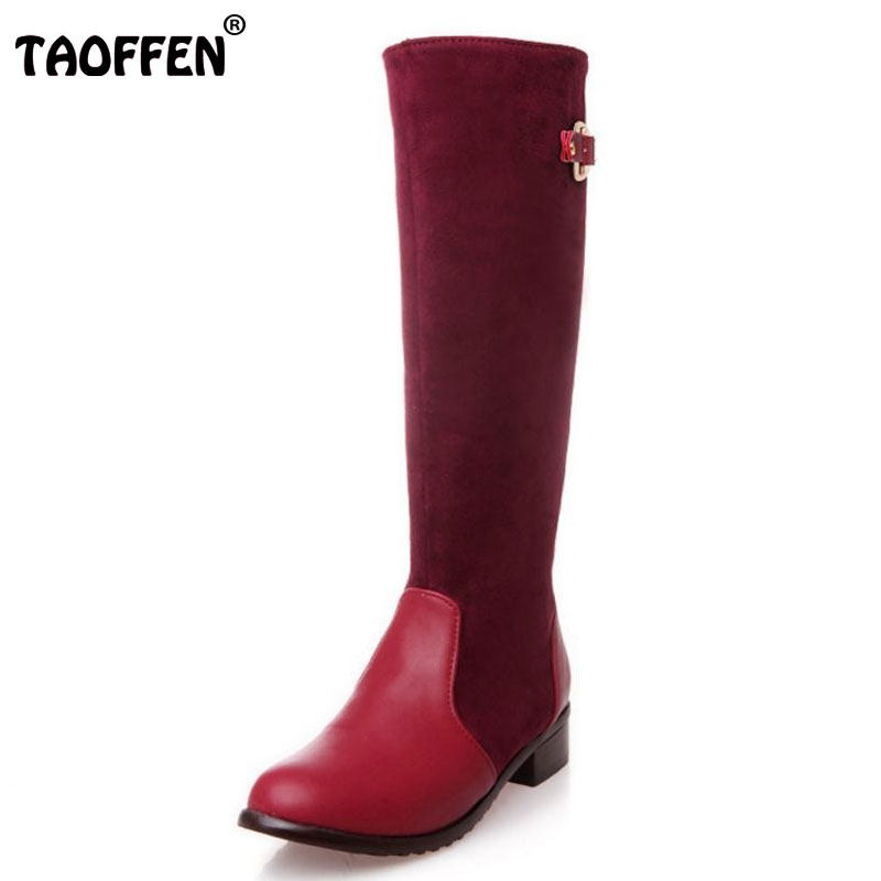 TAOFFEN size 30-47 women flat over knee boots ladies riding fashion long snow boot warm winter brand botas footwear shoes P15019