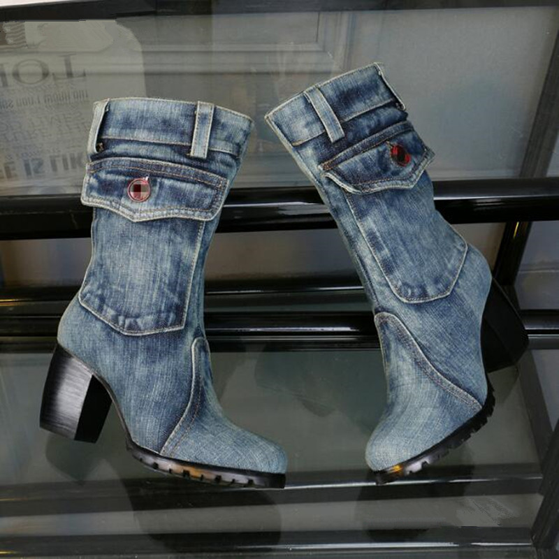 Stylish Blue Denim Boots Women Shoes Cowboy Pocket Design Knee High Boots Square Heel Short Plush High Heels Boots Botas Mujer