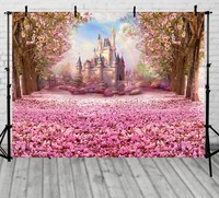 pink flower tree rainbow princess cinderella castle Backgrounds Vinyl cloth High Computer printed Painted wall backdrop