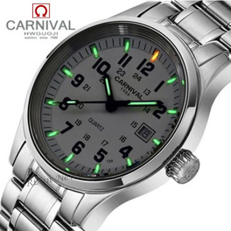 Tritium light brand watch men military dive waterproof 200M quartz luminous full steel luxury brand leather