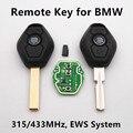 Chave Do Carro remoto 3 botões para BMW 325 330 318 525 530 540 E65 E38 E39 E46 M5 X3 X5 EWS Sistema 315/433 Mhz ID44 Chip