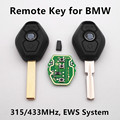 Remote Car Key 3 buttons for BMW 325 330 318 525 530 540 E38 E39 E46 M5 X3 X5 E65 EWS System 315/433Mhz ID44 Chip