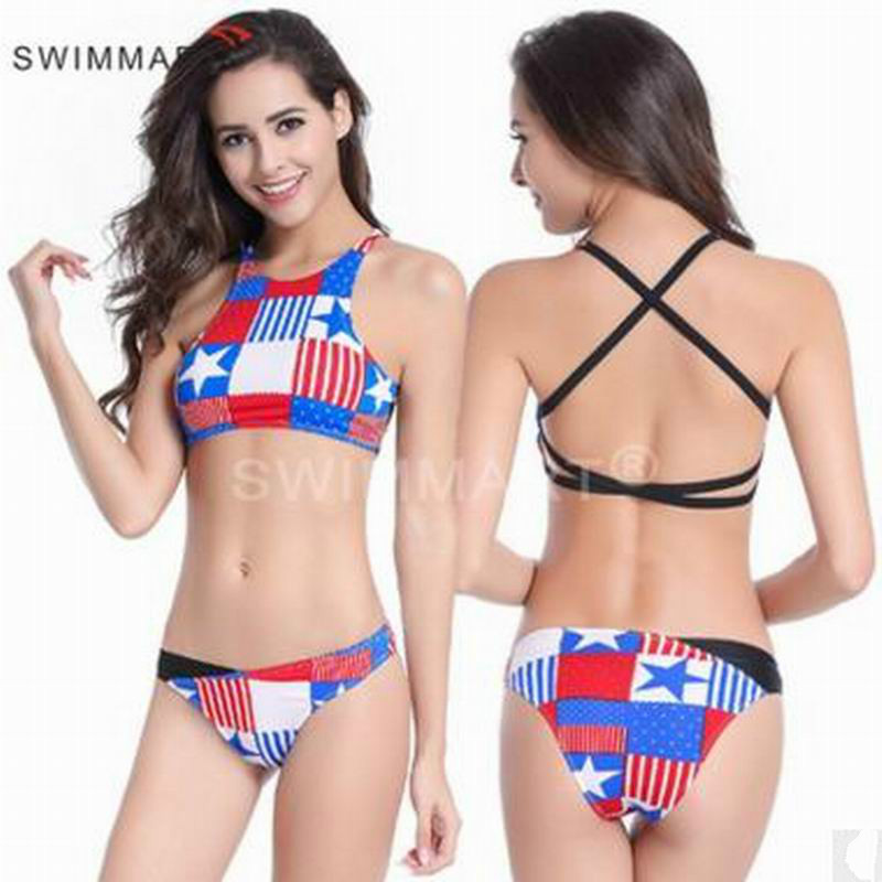 c5474a70d5dbb Tankini Swimwear Chinese-style Chest Covering Back American Flag Bikini  High-end Fission Swimsuit