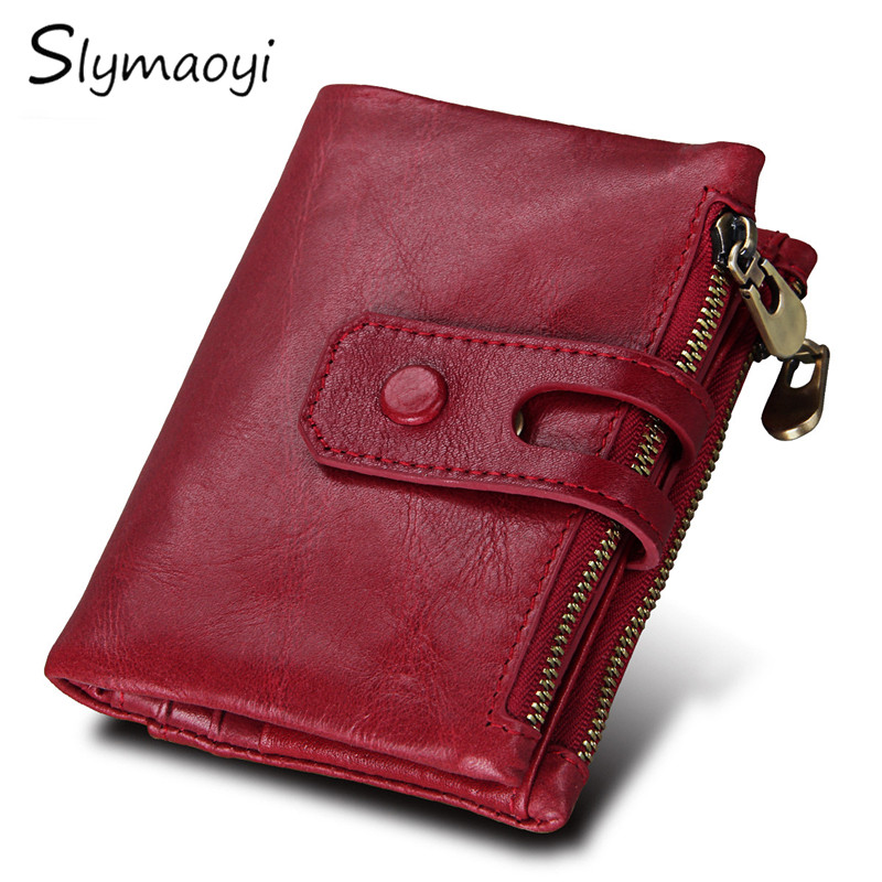 Slymaoyi Genuine Leather Women Wallet Female Small Walet Portomonee Lady Zipper Money Bag Vallet Coin Purse Card Holder Perse xzxbbag fashion female zipper big capacity wallet multiple card holder coin purse lady money bag woman multifunction handbag
