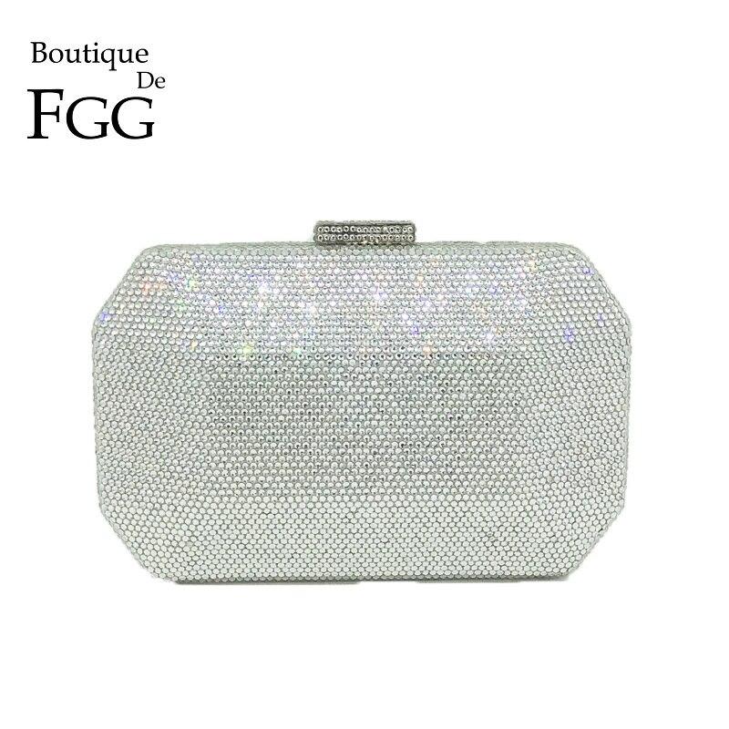 цены Boutique De FGG Sparkling Bling Silver Crystal Evening Bags Women Fashion Minaudiere Clutch Wedding Diamond Handbag Bridal Purse