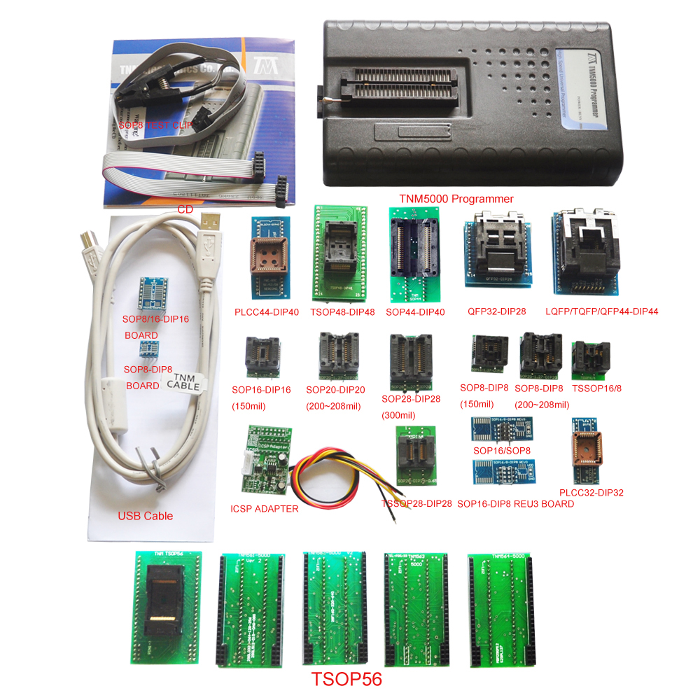 Original TNM5000 USB EPROM Programmer memory recorder 19pc adapters IC Clip for vehicle electronic part Laptop