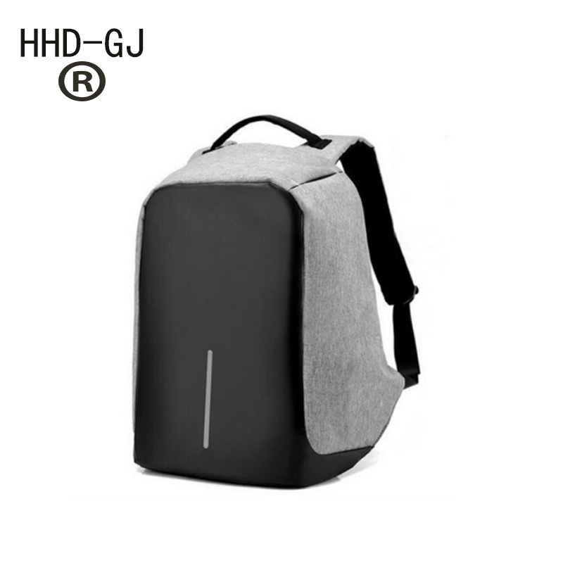HHD-GJ 2017 Unisex Multifunctional External USB Charging Anti Theft Backpack Mens Oxford 16inch Laptop Bag Male Travel Mochila