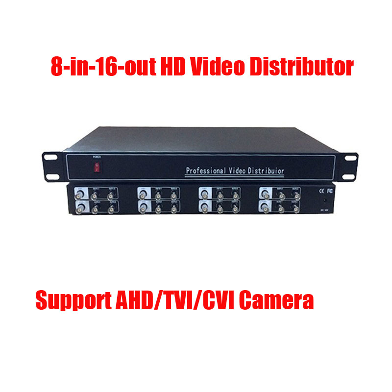 Free Shipping 8In 16 Out AHD TVI CVI CVBS Video Distributor Amplifier 8CH To 16CH Splitter For CCTV Security Camera DVR System ac 110 240v to dc 12v 1a power supply adapter for cctv hd security camera bullet ip cvi tvi ahd sdi cameras eu us uk au plug