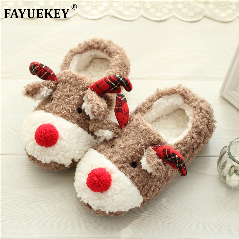 FAY WATERS Womens House Slippers Children Anime Cartoon Bear Lovers Warm Winter Plush Home Floor Shoes