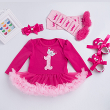 Baby Long Sleeve Cotton Romper Rose Red Ruffle Dress (4 items/set)