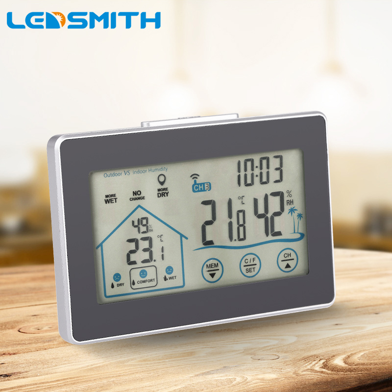 LEDSMITH Touch Wireless Indoor Outdoor Temperature Humidity Meter Digital Weather Station Thermometer Hygrometer digital indoor air quality carbon dioxide meter temperature rh humidity twa stel display 99 points made in taiwan co2 monitor