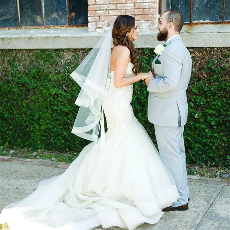 Wedding Veil With Horsehair Trim Two Tier Veil Fingertip Veil 42 Inch Bridal Veil