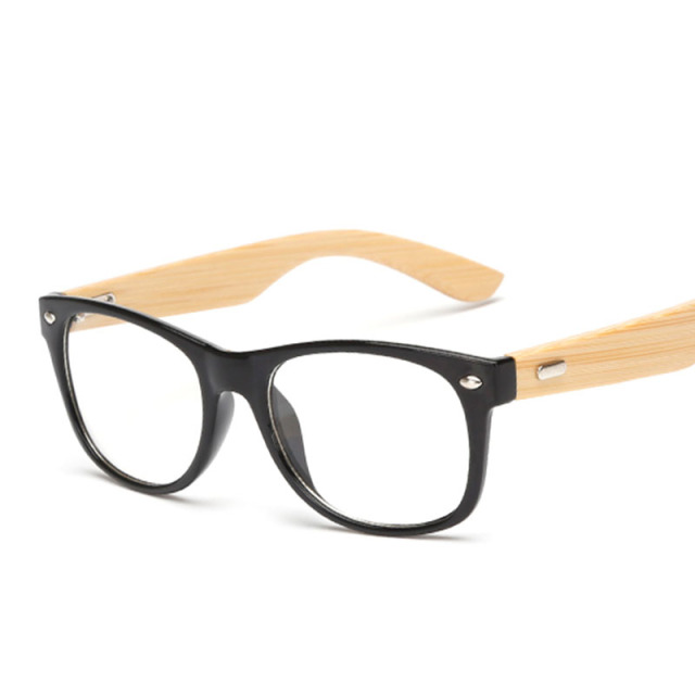 Bamboo Handmade Vintage Rivets Eyeglasses Frame Men's Retro Wooden Glasses Frame Women's Classic Myopia Optical Frame Clear Lens