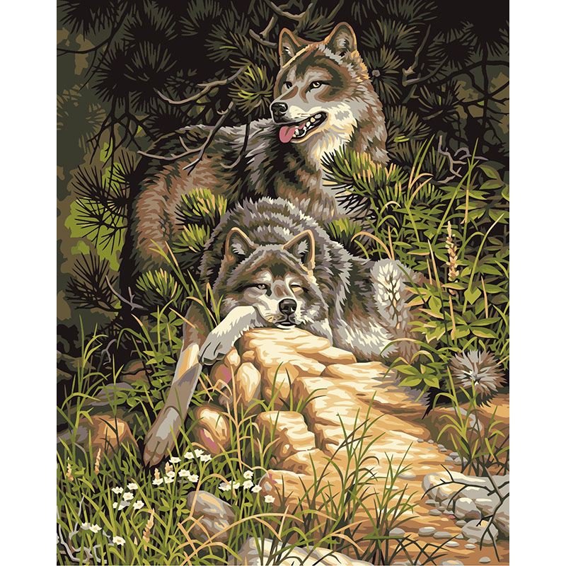 Bezrámový vlk Zvířata Kutilství Malování podle čísel Akrylový obrázek Nástěnné umění Plátno Ručně malované Dekorace interiéru 40x50cm