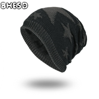 BHESD 2017 Star Pattern Knitted Hat Plus Cashmere For Men Winter Outdoor Beanie Skullies Male Warm