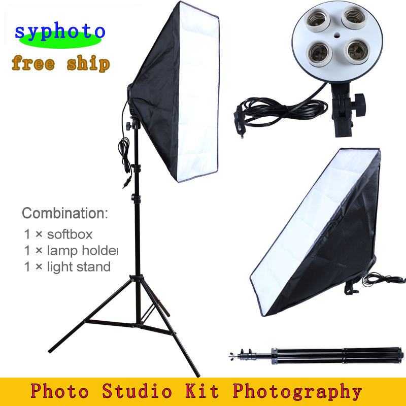 Photo Studio Kit Fotografi Pencahayaan 4 Socket Lamp Holder + 50 * 70CM Softbox + 2m Light Stand Photo Soft Box