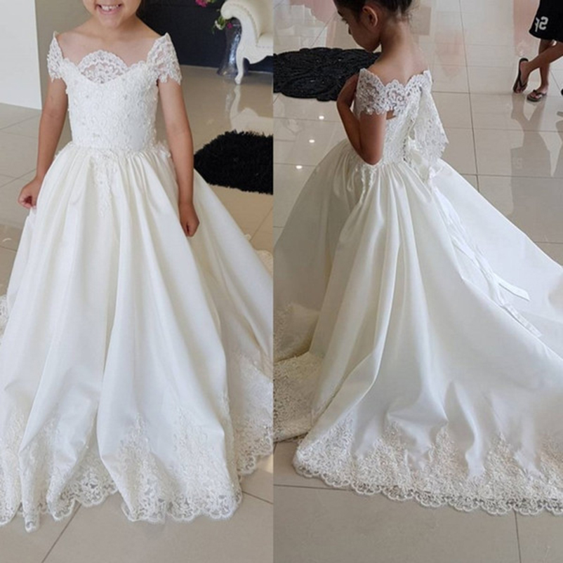 2018   Flower     Girl     Dress   Children Pageant   Dresses   White Lace For Wedding First Communion Little Bride Princess Gowns With Train