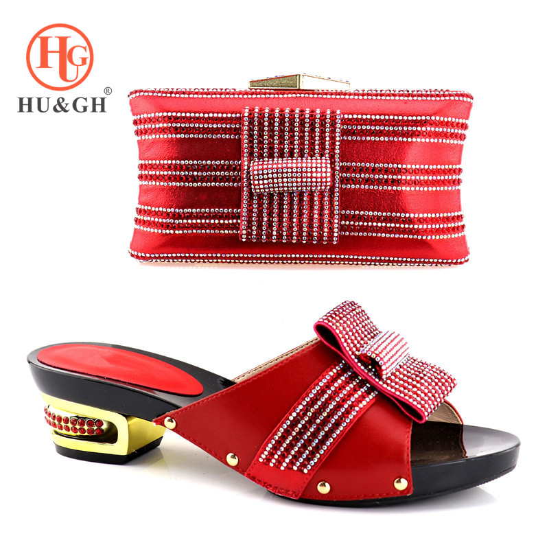 2018 New Matching Italian Red Shoe and Bag Set African Matching Shoes and Bags Italian In Women Nigerian Shoes and Matching Bags wholesale italian ladies matching shoes and bags set in yellow high quality fashion african women shoes matching bag set mm1026