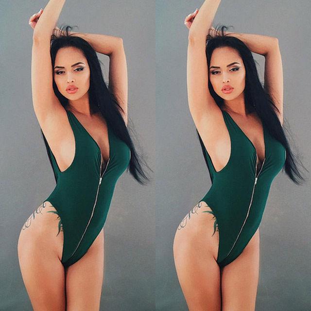 b0cb9e00d6b17 Black Friday Deals New Sexy Women s Swimwear Zipper V neck One Piece Thong  Swimsuit Monokini Push Up Padded Bikini Bathing