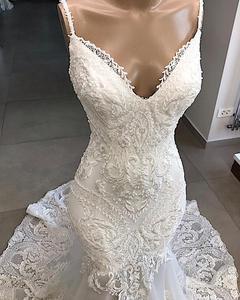 Image 4 - Женское свадебное платье Русалка, белое кружевное платье с открытой спиной и V образным вырезом, ручной работы